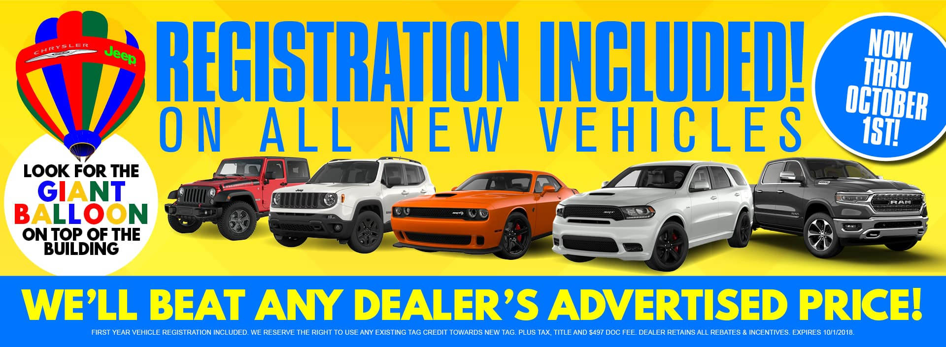 Registration Included on all new vehicles