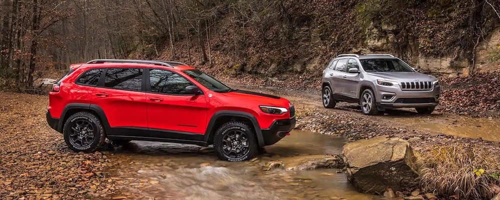 Two Jeep Cherokee models in autumn woods