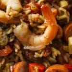 Spicy Cajun Jambalaya with shrimp in a pan.