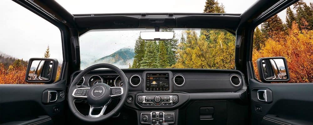 2019 Jeep Wrangler dashboard with top off