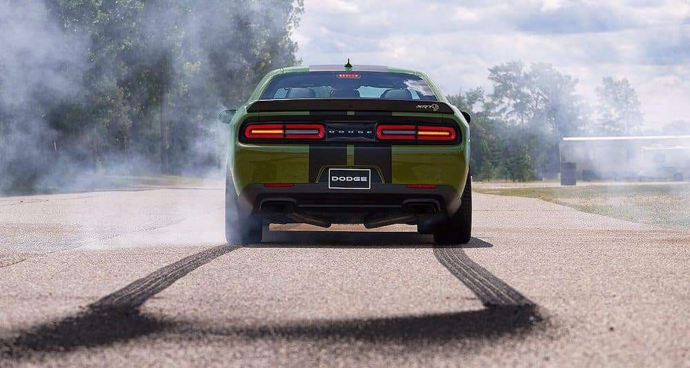 2019 Dodge Challenger with tire marks