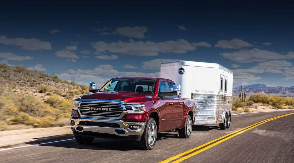 2020 Ram 1500 towing a trailer