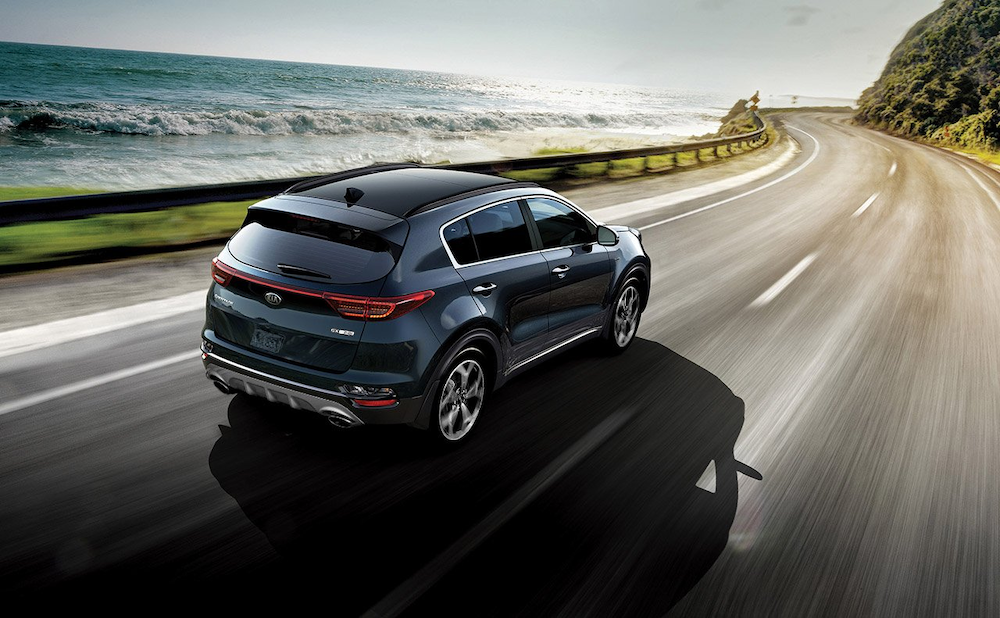 2020 Sportage on a coastal road