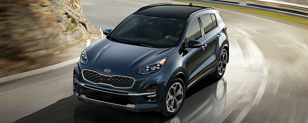 2020 Kia Sportage on a curving road