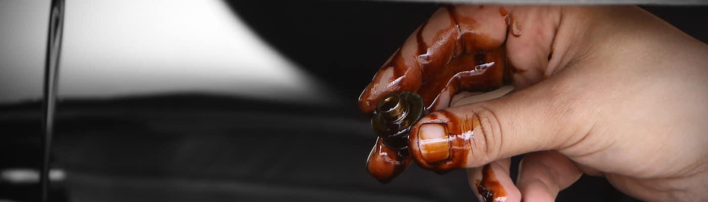 Closeup of oil change