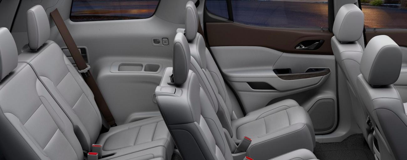 Grey leather interior of 2019 GMC Acadia