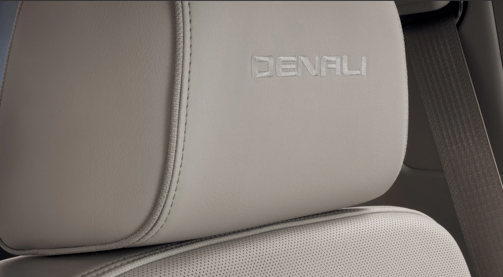 Tan leather headrest with Denali embroidered