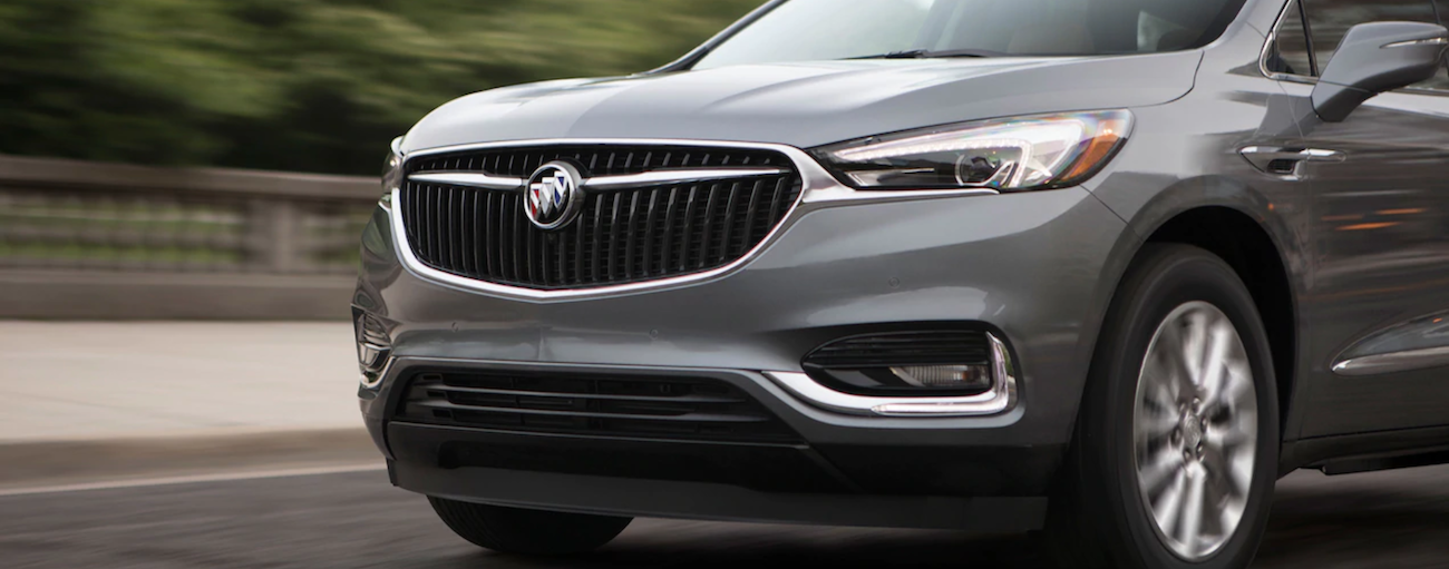 Gray 2019 Buick Enclave grille while driving