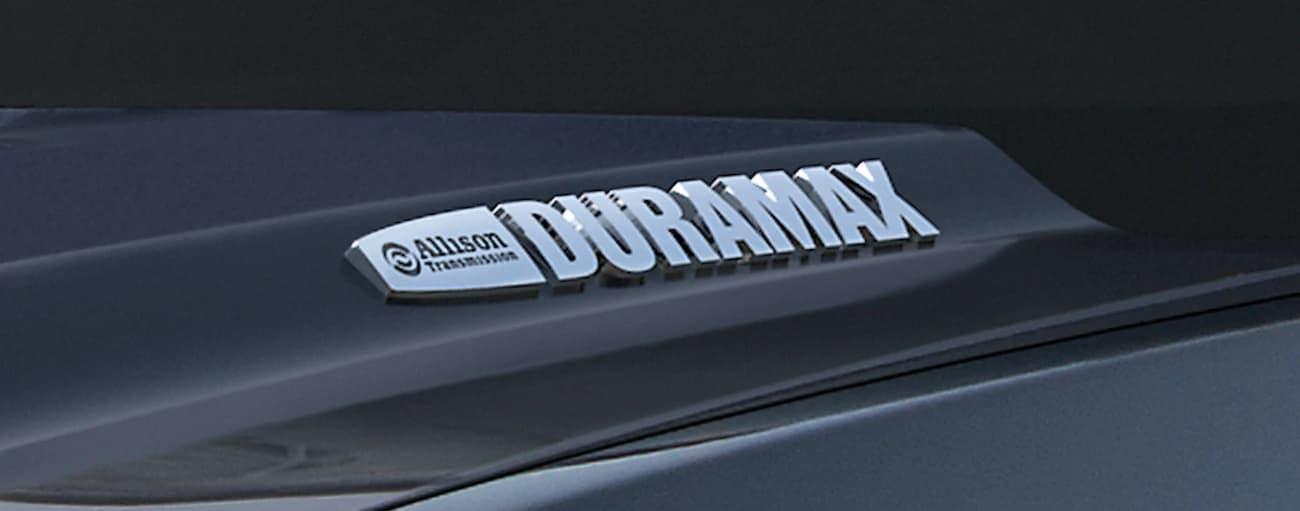 Closeup of Duramax badging on black 2019 GMC Sierra 2500HD