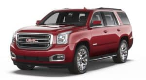 Red 2019 GMC Yukon on white