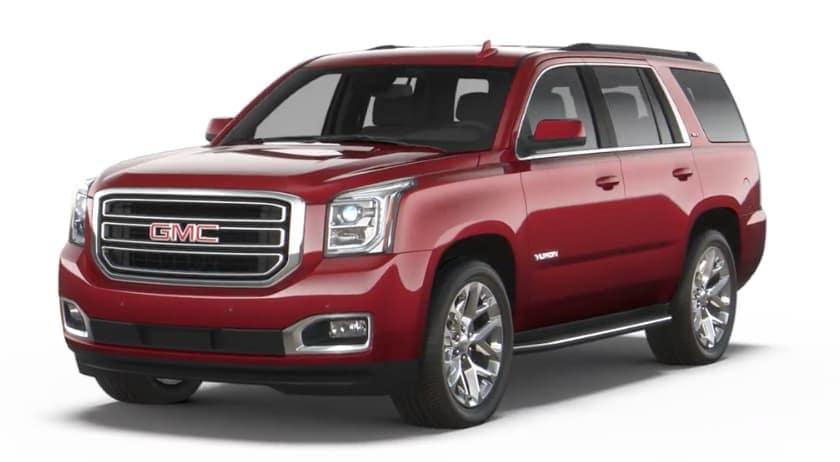 Red 2019 GMC Yukon on white