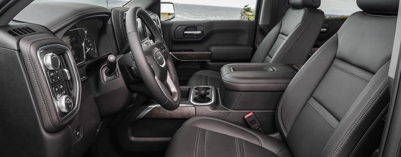 The gray interior of a 2019 GMC Sierra 1500 Denali