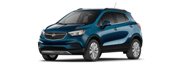 A blue 2019 Buick Encore is shown from a front-side angle facing left.