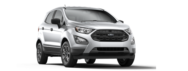 A silver 2019 Ford Ecosport is shown from a front-side angle facing right.
