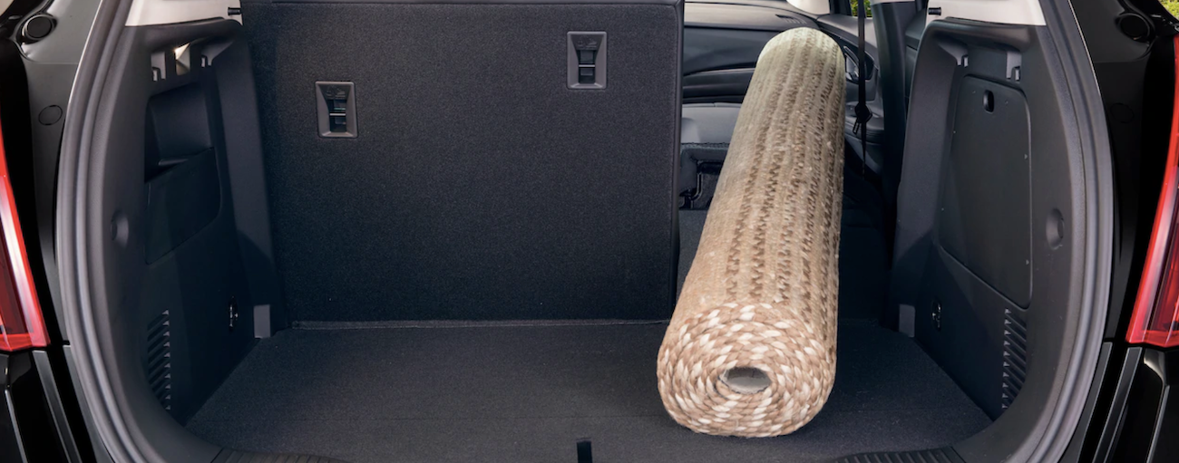 A rug is rolled up in the cargo area of a 2019 Buick Encore.