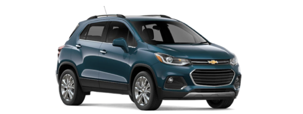 A blue 2019 Chevy Trax is shown from a front-side angle facing right.