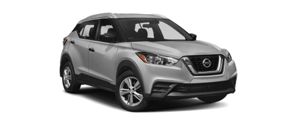 A silver 2019 Nissan Kicks is shown from a front-side angle facing right.