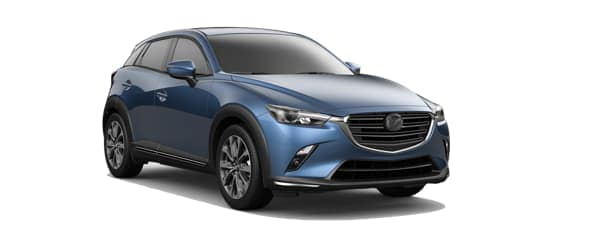 A blue 2019 Mazda CX-3 is facing right.