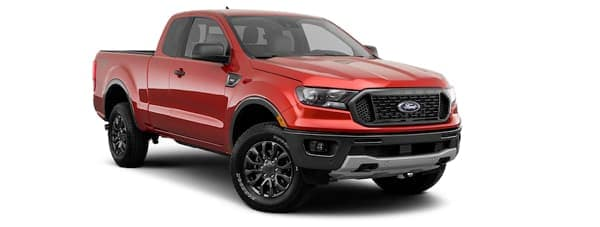A red 2019 Ford Ranger is facing right.