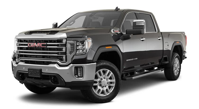 A black 2020 GMC Sierra 2500HD is facing left.