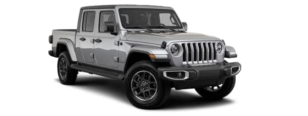 A silver 2020 Jeep Gladiator is facing right.