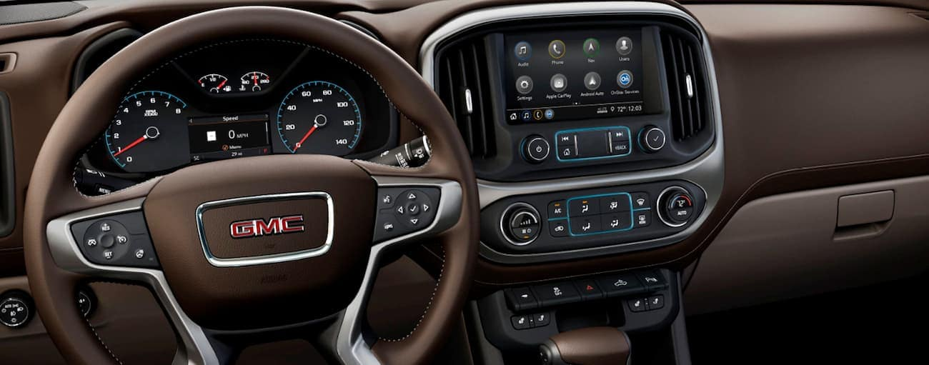 The brown interior of a 2019 GMC Canyon is shown.