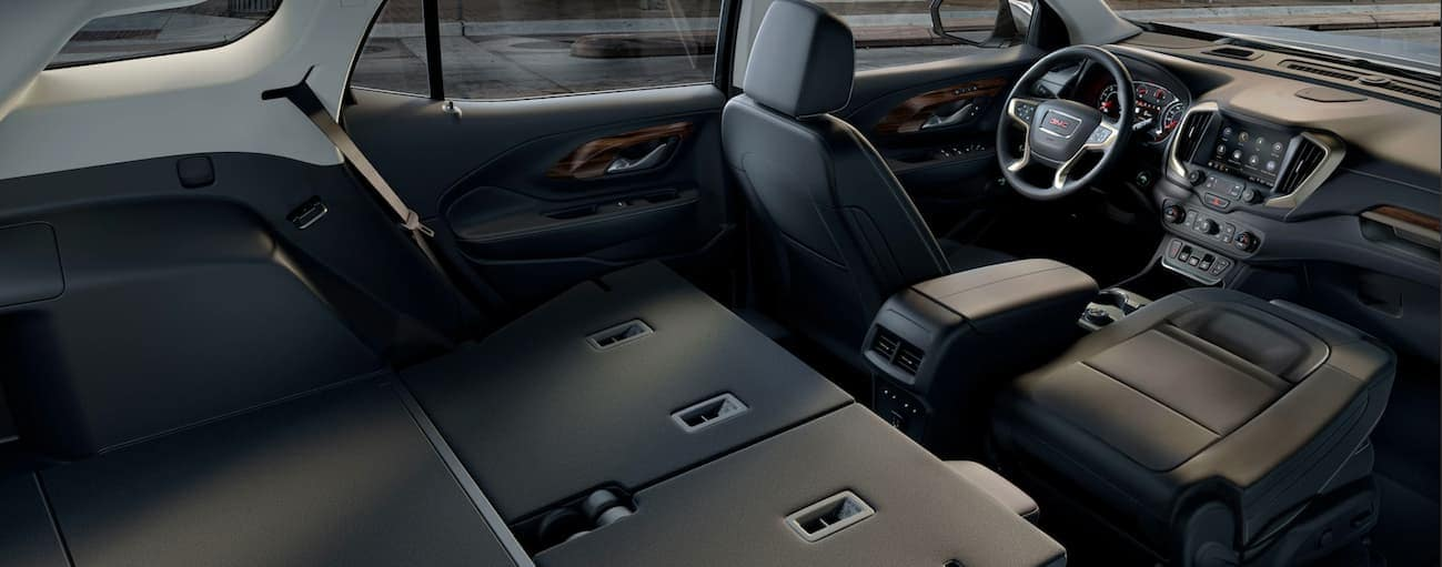 A birds eye view of the black leather 2019 GMC Terrain.