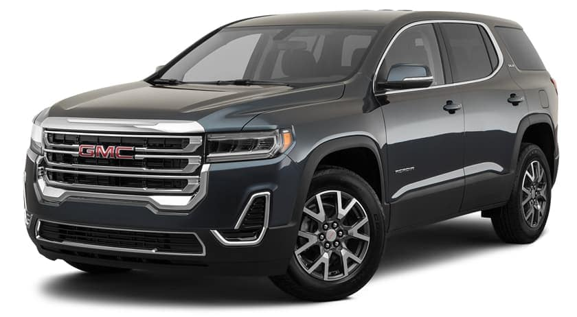 A black 2020 GMC Acadia is facing left.