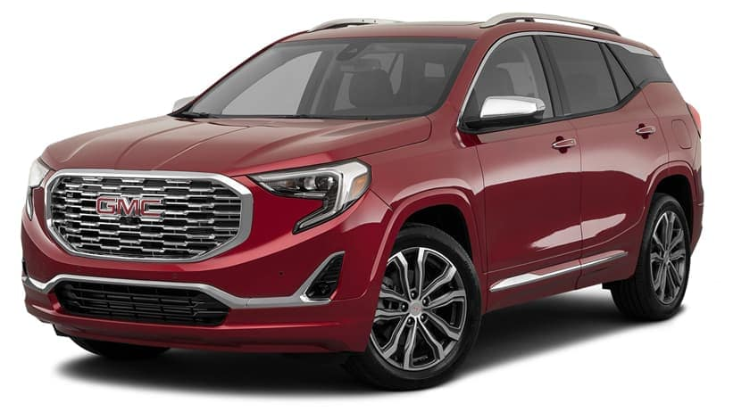 A red 2020 GMC Terrain is facing left.