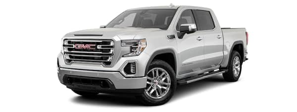 A silver 2020 GMC Sierra 1500 is angled left.