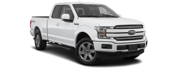 A white 2020 Ford F-150 is facing right.