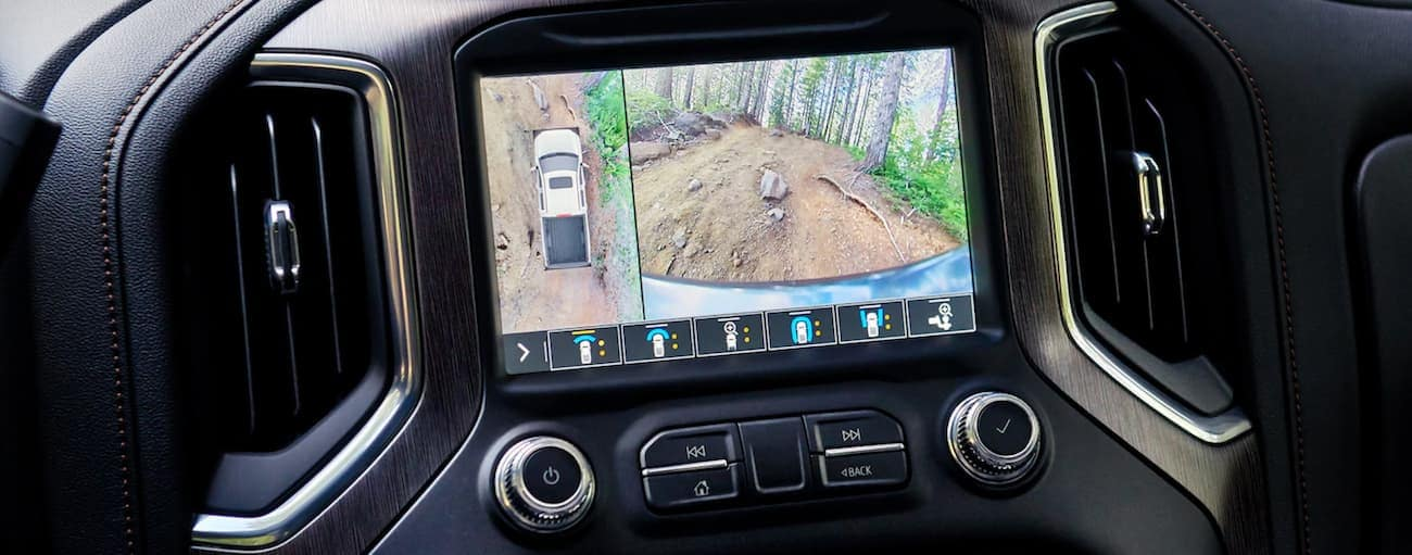 "The Surround View feature is being used on the 2020 GMC Sierra 1500's 8"" infotainment system."