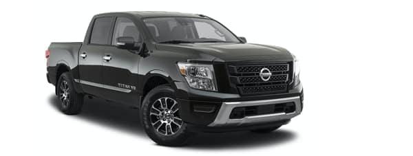 A black 2020 Nissan Titan angled right.
