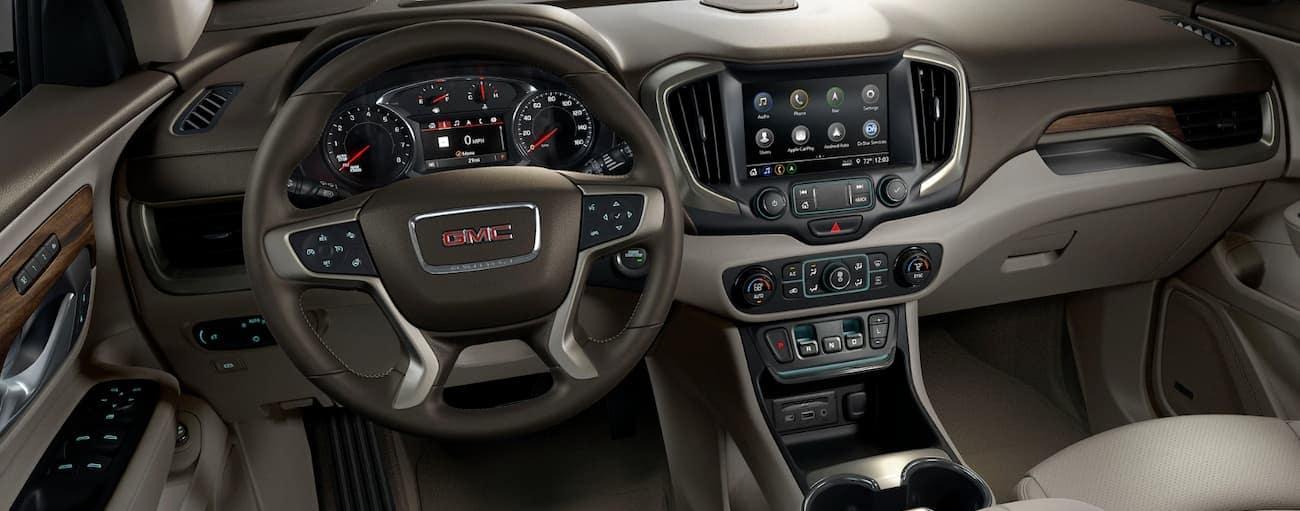 The interior of the 2020 GMC Terrain Denali is shown.