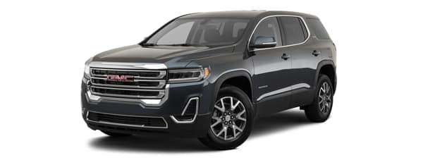 A blue 2020 GMC Acadia is facing left.
