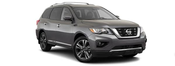 A grey 2020 Nissan Pathfinder is facing right.