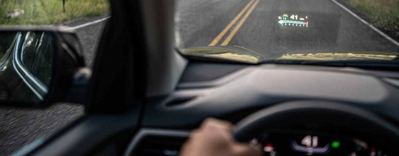 The head-up display on a 2020 GMC Acadia is shown.