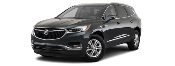 A black 2020 Buick Enclave is angled left on a white background.