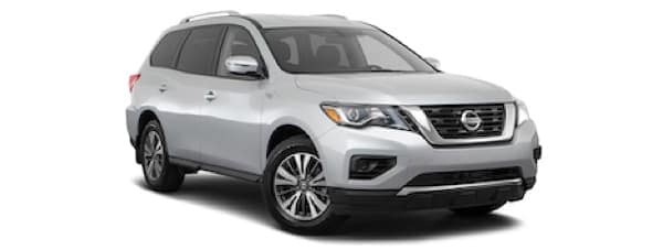 A silver 2020 Nissan Pathfinder is angled right on a white background.