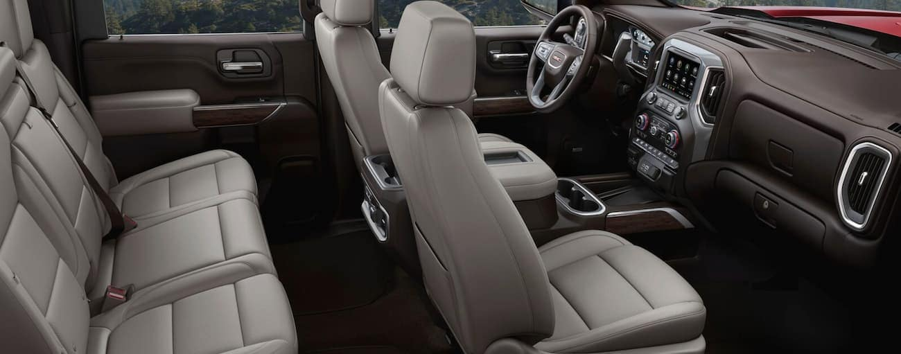 The light grey interior of a 2020 GMC Sierra 2500 is shown.