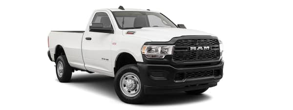 A white 2020 Ram 2500 is facing right.