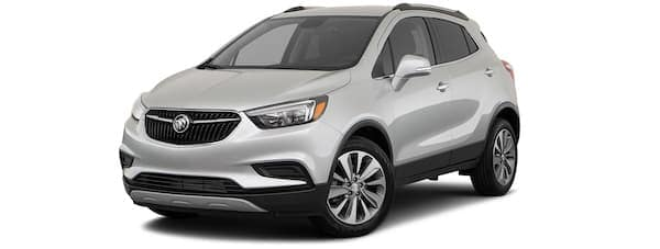 A silver 2020 Buick Encore is angled left on a white background.