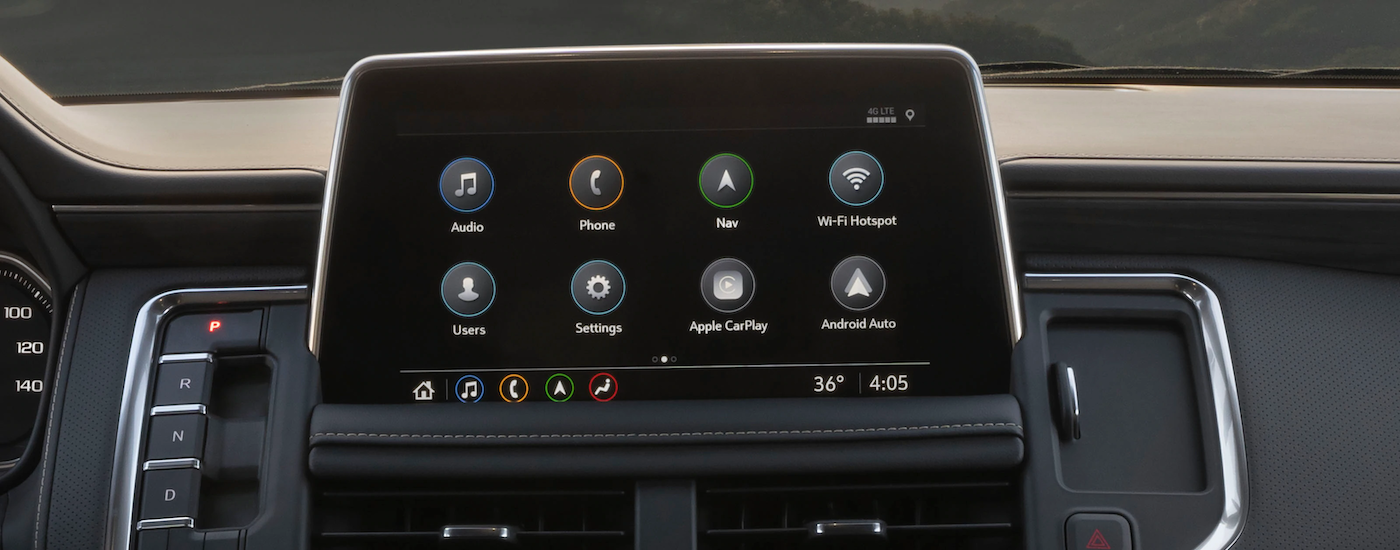 A closeup is shown of the infotainment screen in a 2021 GMC Yukon.