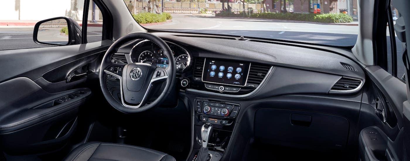 The black interior of a 2020 Buick Encore is shown in Atlanta, GA.