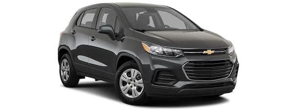 A black 2020 Chevy Trax is angled right.