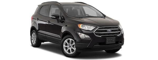 A black 2020 Ford EcoSport is angled right.
