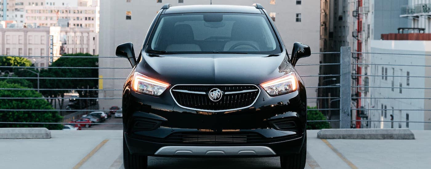A black 2020 Buick Encore is shown from the front in a Atlanta parking garage.