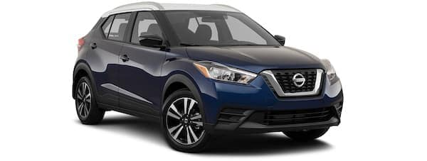 A blue 2020 Nissan Kicks is angled right.