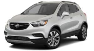 A silver 2021 Buick Encore Preferred is angled left.