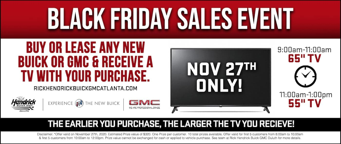The information for the Rick Hendrick Buick GMC Duluth Black Friday Sales Event is displayed in a graphic.